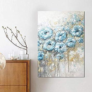 TKFY Pintura al óleo Pintada a Mano Varias Flores de Color Azul Claro Cuadros Flora Lienzo Plantas murales para la decoración del Bar del Hotel 60.60cm