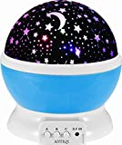 XUZOU Night Lighting Lamp [ 4 LED Beads, 3 Model Light, USB Cord Romantic Rotating Cosmos Star Sky Moon Projector , Rotation Night Projection for Children Kids Bedroom (Blue)