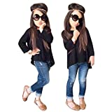 Clearance! Napoo Toddler Girls Solid Irregular T-shirt Tops+Long Jeans Pants Outfit Clothes (4/5T, Black)