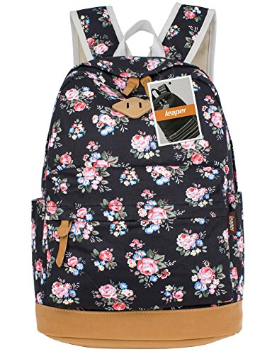 (Leaper Floral Laptop Backpacks College Bags School Daypack Travel Bags Black)