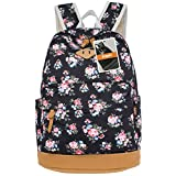 Leaper Cute Floral Canvas Backpacks Casual Style School Bags Shoulder Bags Travel Bags Floral Black