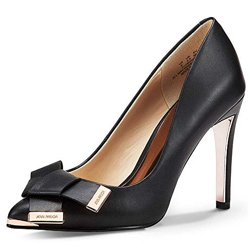 JENN ARDOR Women's Stiletto High Heel Pumps Pointy Toe Leather Bowknot Slip On Bridal Wedding Shoes Black 9.5 B(M) US (25.96 - Heel High Toe Pointy Stiletto