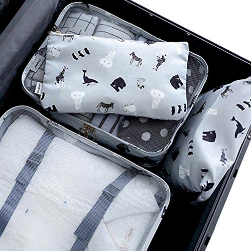 - Belsmi 8 Set Packing Cubes - Waterproof Compression Travel Luggage Organizer With Shoes Bag (Animal World)
