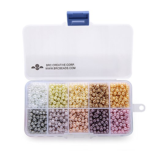 BRCbeads 4mm 1000pcs PASSION COLOR Tiny Satin Luster Glass Pearls Round Loose Beads + FREE Plastic Jewelry Container Box Wholesale Assorted Mix Lot For Jewelry Making