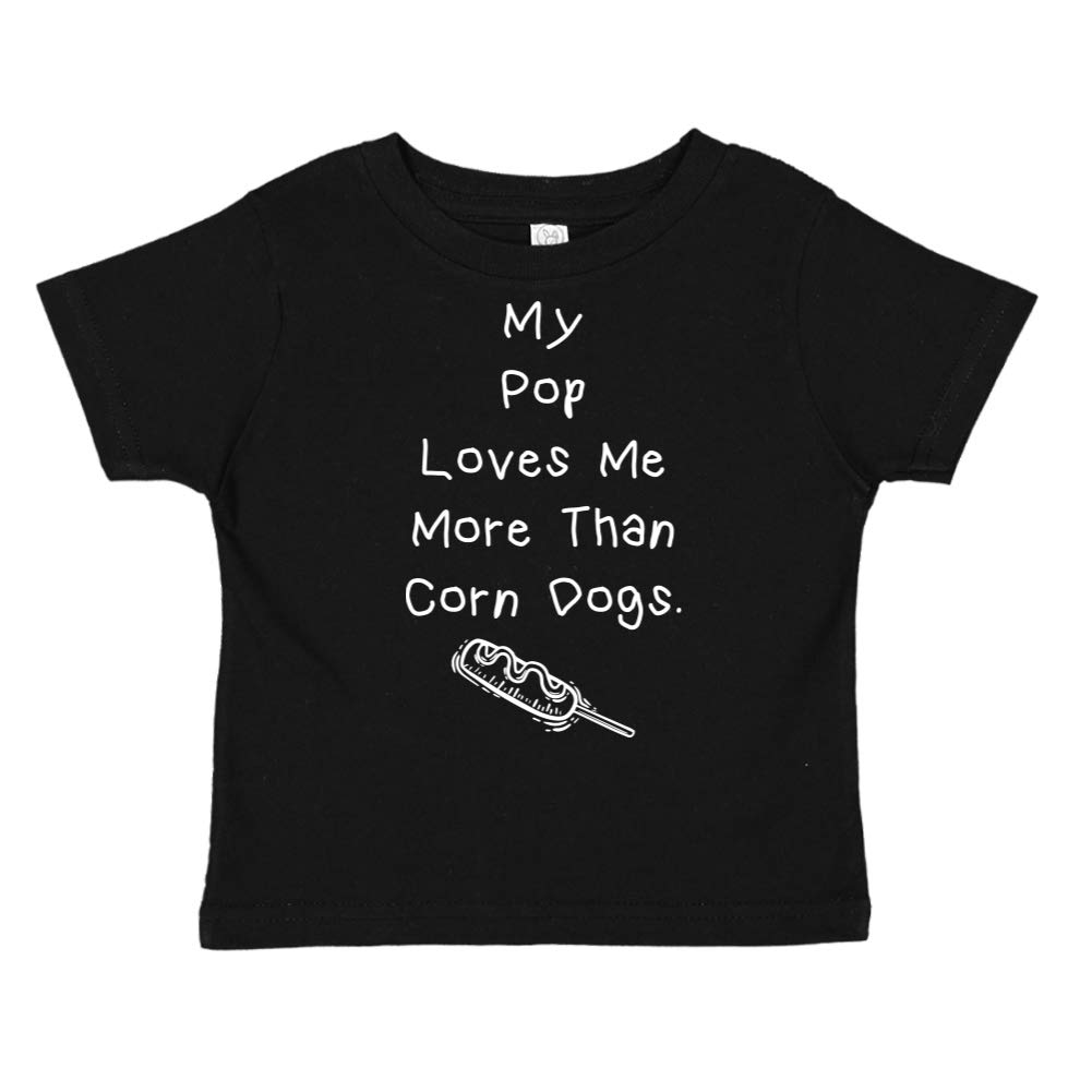 Toddler//Kids Short Sleeve T-Shirt My Pop Loves Me More Than Corn Dogs
