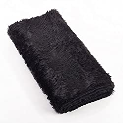 "SARO LIFESTYLE Faux Fur Design Topper Table Runner, 15"" x 72"", Black"