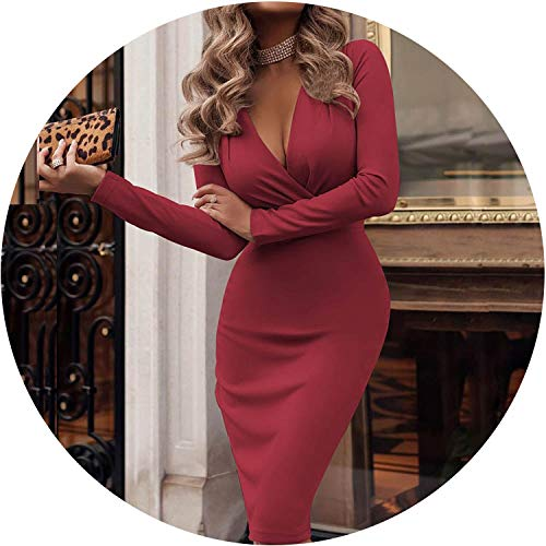 2019 Spring Long Sleeve Solid Bodycon Party Dress