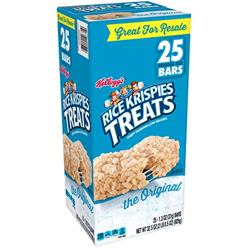 Kellogg's Rice Krispies Treats, Crispy Marshmallow Squares, Original, Single Serve, Display Box, 1.3 oz Bars(25 ()