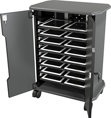 Computer Security Cart - DMD Tablet Charging Cart, Mobile Laptop Charging Storage Cart and Workstation, Multiple iPad, Tablet, Laptop, and Notebook Charging Station with Locking Security Cabinet, Stores Devices