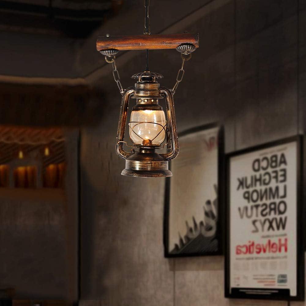 RUIBO Industriel En Bois R/étro Rustique Pendentif Lumi/ère pour Salle De Lecture Restaurant Caf/é Ancien Design K/éros/ène Lustre E27
