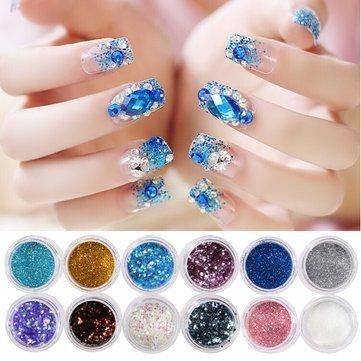 tion - Nails Powder Glitter Mixed Sequins Decoration Decoration 12 Boxes/Set - 12 Boxes \/ Set Nail Glitter Powder ()