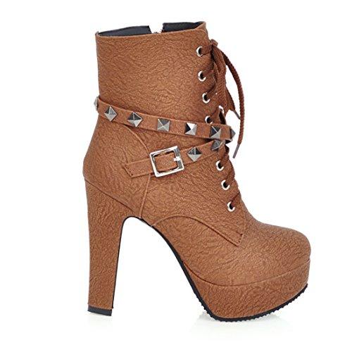 Mode Eclair Femmes De Boucles Rivets Marron Rond Talons Hauts À Chaussures Bottines Lacet Et Fermeture Avec Bloc Bout Uh Plateforme En HW8dfTBqwH