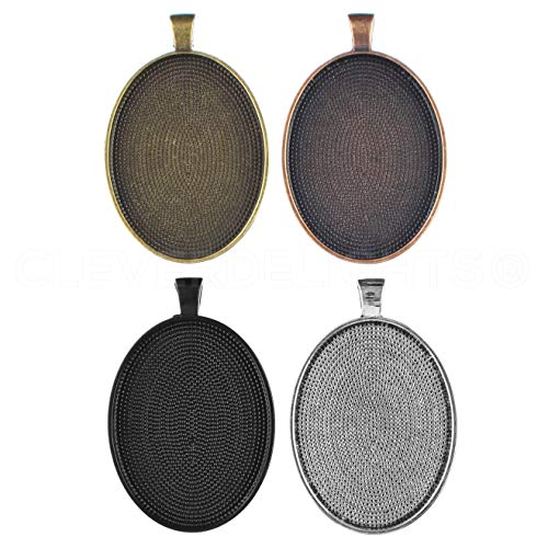 20 Pack - CleverDelights 30x40mm Oval Pendant Trays - Mix Pack - Copper Bronze Silver - 6 Heart Mm Bezel