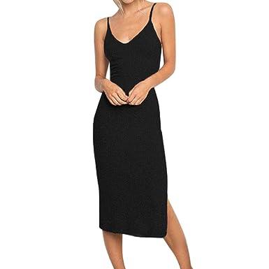 73e11ae0243cd Hale Tomlinson Women Gray Dress Womens Sleeveless Strappy Tank Dress Slim  Rib Knit Split Party MiDi
