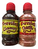 Zumba Pica Forritos Chamoy (Chamoy Flavored Pulp with Natural Fruit) Bundle with Forritos Chilito (Tangy Chili Powder to Sprinkle Fruits), Two Bottles (8.5 oz and 7.1 oz)