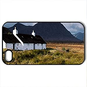black rock cottage scotland - Case Cover for iPhone 4 and 4s (Houses Series, Watercolor style, Black)