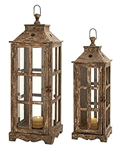 Deco 79 Wood Glass Lantern, 33 by 27-Inch, Brown, Set of 2