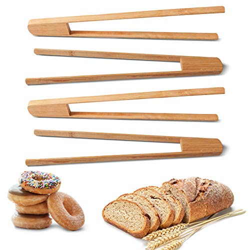 12 Inch Toast Tongs, Natural Bamboo Toast Tongs, Reusable, Wooden Kitchen Tongs, Used for Cooking and Toasting Bread, Bagels,Appetizers, Fruits and Tea, Etc.-Environmentally Friendly (4 Pieces)