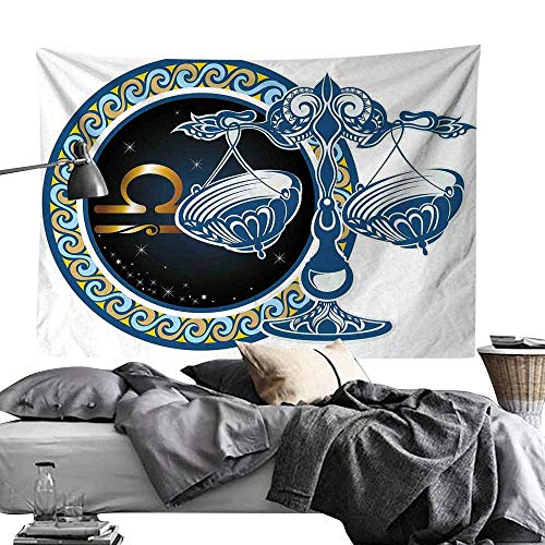 MaureenAustin Wall Hanging Tapestry Polyeste,Zodiac,Historical Astronomy Icon Sign Libra Pattern with Wheel and Scales Planetary Image,Blue Gold Polyester Fabric Wall Decor for bedroom60 x60