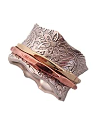 """Energy Stone """"BALANCE AND BEAUTY"""" Etched Floral Meditation Spinner Ring"""