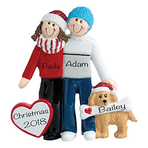 Winter Couple with Dog Personalized Ornament - (Unique Christmas Tree Ornament - Classic Decor for A Holiday Party - Custom Decorations for Family Kids Baby Military Sports Or Pets)