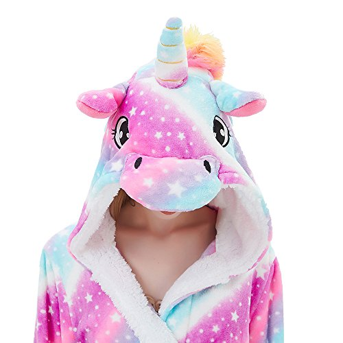 ABENCA Women Adult Animal Cartoon Unicorn Bath Robe Flanel Fleece Hooded Halloween Christmas Cosplay Robe