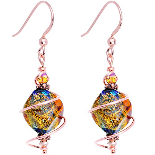 Body Candy Handcrafted Autumn Dichroic Dangle Earrings Created with Swarovski Crystals (Love Dichroic Glass)