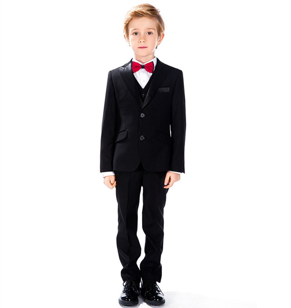 LJYH Boys 5 Pieces Suit Wedding Party Jacket Trousers Shirt Waistcoat Tie