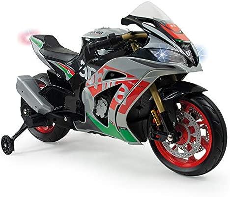 INJUSA - Moto Racing Aprilia a Batería 12V Licenciada con Luces y Sonidos, Conexión mp3 y Ruedas Estabilizadoras Recomendada para niños +3 Años