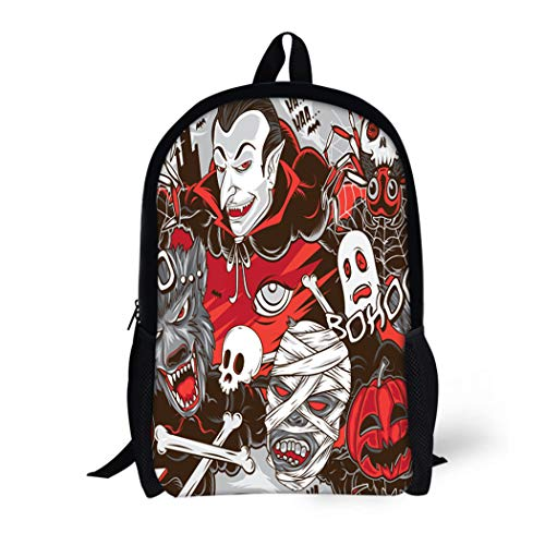 Pinbeam Backpack Travel Daypack Pattern Halloween Horror Monsters Vampire Cute Cat Helloween Waterproof School Bag -