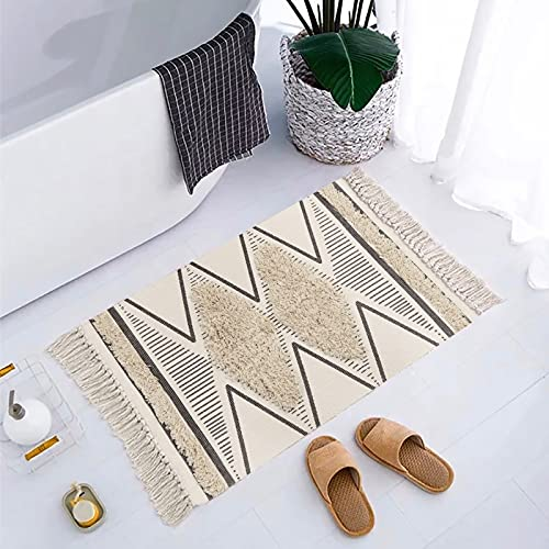 Boho Bathroom Rug 2' x 3', KIMODE Hand Woven Cotton Tufted Chic Diamond Print Tassels Throw Rugs Door Mat Indoor Area Rugs for Bedroom,Living Room,Laundry Room