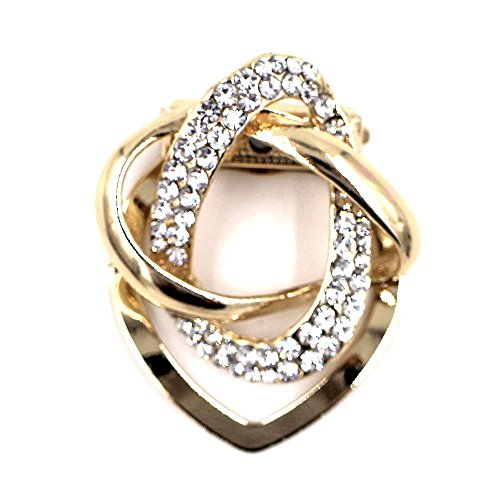 Estony Dual Purpose Scarf Buckle Brooch Clips Pin For Women (Champagne Gold)
