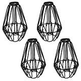 "4 Pcs Metal Wire Cage Lampshade - Motent Adjustable Vintage Industrial Metal Bird Cage Bulb Guard DIY Pendant Ceiling Lighting Fixture 3.9"" Dia - Black"