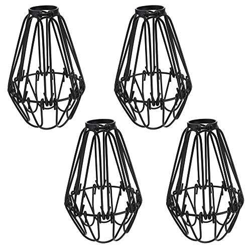 "Adjustable Wire Cage Lampshade, Motent 4pcs Vintage Industrial Metal Bird Cage Bulb Guard Island Pendant Lighting Fixture Creative 1-Light DIY Black Iron Drop Lamp Holder - Open Close Design 3.9"" Dia"