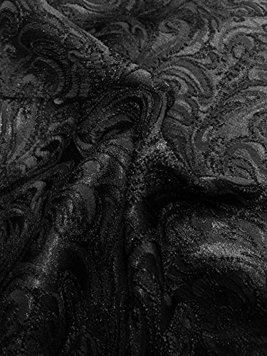 Black Paisley Design Jacquard Brocade Cotton Poly Fabric Sold by The Yard (Poly Brocade)