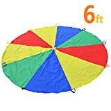 KINDEN 6 Foot Parachute with 8 Handles for Kids Play Parachutes Indoor & Outdoor Gymnastics Team Building Activity and Group Toys (6 Feet)