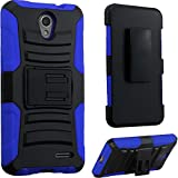 zte prelude 2 phone covers - 2Layer Rugged Rubber Case Cover w/Holster Belt Clip for ZTE Prestige 2 / Avid Plus / Sonata 3 / Avid Trio / ZFive 2 / Maven 2 / Maven 3 / Overture 3 / Prelude+ Plus Phone (Black on Blue)
