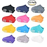 Anti Slip Socks for Baby (12 Pair) /Infants and Toddlers Cotton Grip Walkers Socks by HCW (Short(12pairs))