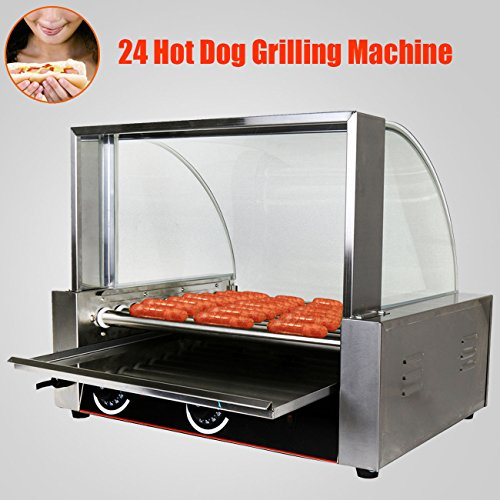 PanelTech 1800W Commercial Quality 24 Hot Dog Maker Warmer Cooker Roller Grilling Machine W/ Cover (9 Roller ) Vending Business North American