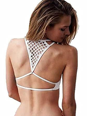 Victorias Secret. Seamless Crochet-Racerback Bralette (Small, White)
