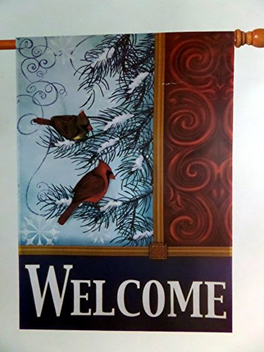 """Cardinals Bird in a Pine Tree """"WELCOME"""" Christmas House F..."""