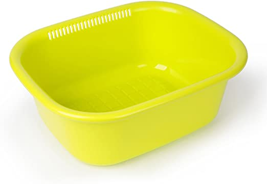 Caja de almacenamiento Cocina Vajilla de plástico Acabado Caja de Drenaje Cesta Fruta y Verduras Ollas (Color : Verde): Amazon.es: Hogar