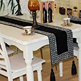 GL&G Fashion Home Table Runner High-grade hand-sewn auger table coffee table flag cloth bed towel hotel table decoration cloth,black,32200cm