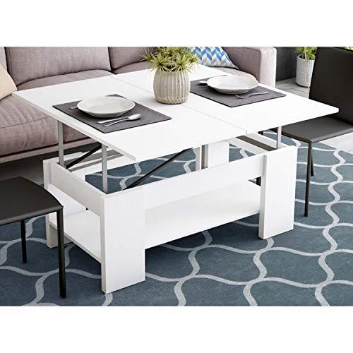 Muebles Baratos Mesa de Centro Convertible en Comedor, Color Blanco, ref-05a