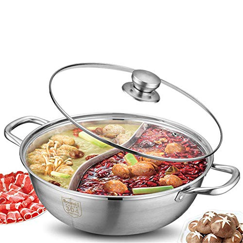 Stainless Steel Shabu Hot, Sided Hot Pot with Divider, Glass Lids, Rapid Thermal Conductivity, High Capacity, Suitable for A Variety of Stoves