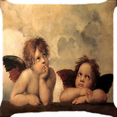 Angel Throw (KarilShop baby angels cupid feather wings yellow Linen Throw Pillow Case Cushion Cover Home Sofa Decorative 18 X 18)