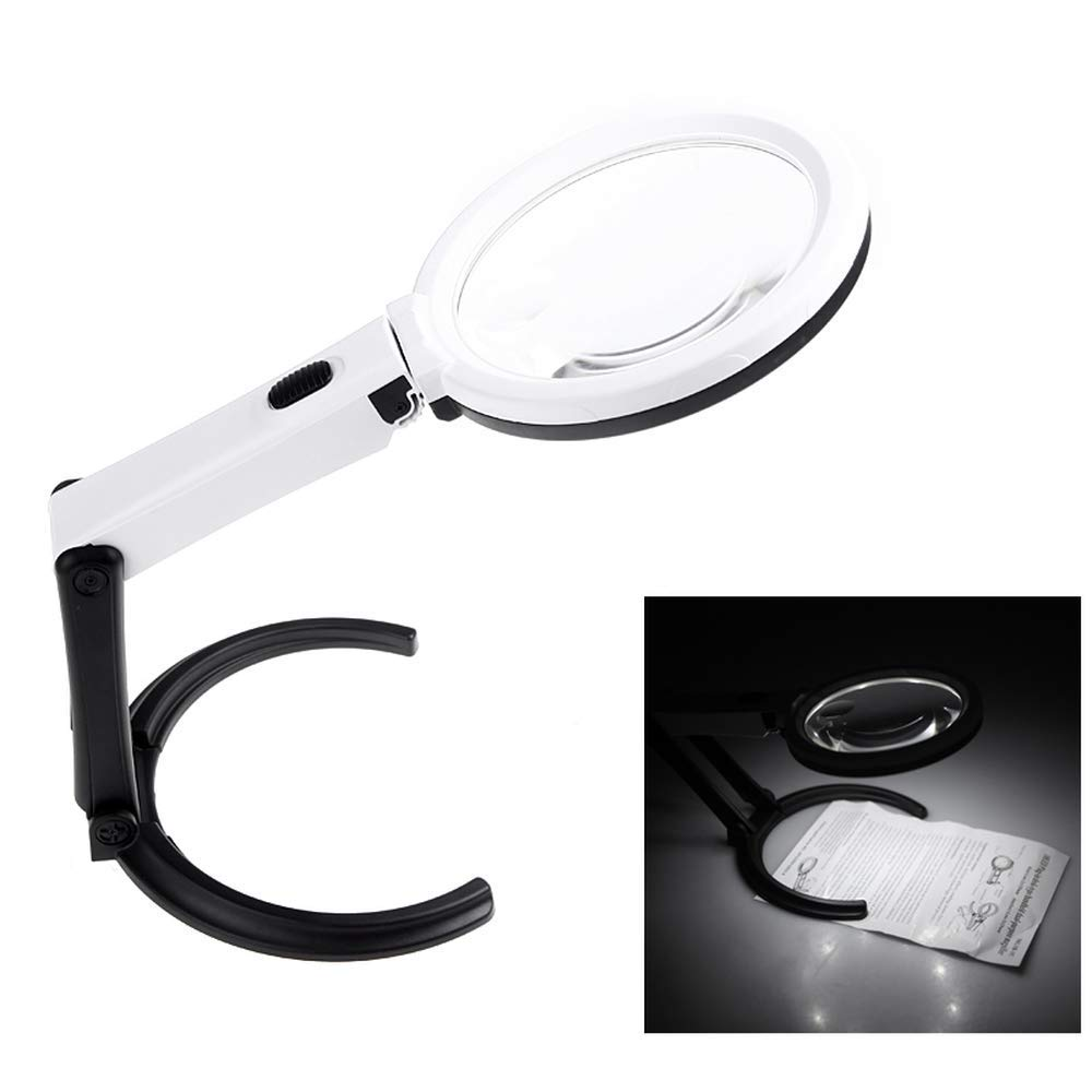 Portable 10 LED Light Magnifier Magnifying Glass with Light Lens Table Desk-Type Lamp Handheld Foldable Loupe 2 x 120mm 5X 28mm