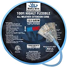 Extreme 100 ft 12 Gauge Heavy Duty Indoor Outdoor SJEOW Lighted Triple Outlet Very Flexible Cold Weather Oil Resistant Blue Rubber Extension Cord by Watts Wire
