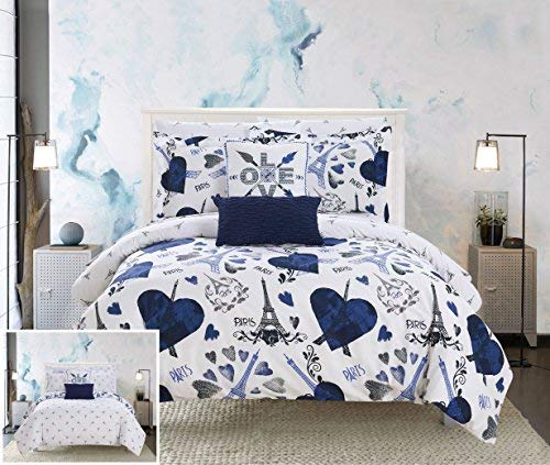 - Chic Home Le Marias 9 Piece Reversible Comforter Paris is Love Inspired Printed Design Bed in a Bag-Sheet Set Decorative Pillows Shams Included Size, Full, Navy