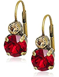 Go Garnet Round Crystal French Wire Drop Earrings